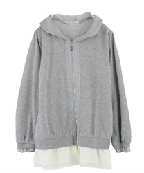 【OUTLET】【Web限定】裾シフォンロングパーカー(杢グレー-M)
