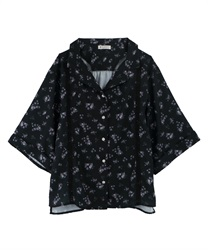 【OUTLET】【Web限定】小花柄開襟ブラウス(黒-M)