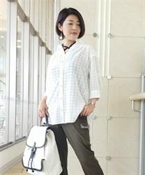 シアーチェックロングシャツ(白-M)