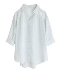シアーチェックロングシャツ(サックス-M)