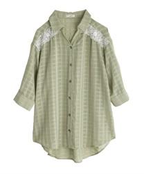 シアーチェックロングシャツ(グリーン-M)