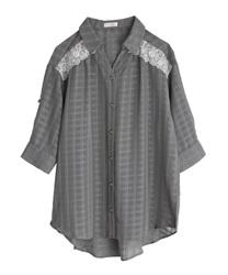 シアーチェックロングシャツ(チャコール-M)