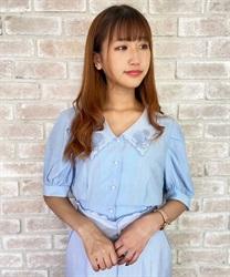 【web価格/15H限定】ブーケ刺繍襟シアーブラウス