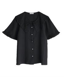 刺繍襟ブラウス(黒-M)