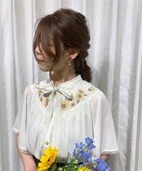 ひまわり刺繍楊柳ブラウス(生成り-M)