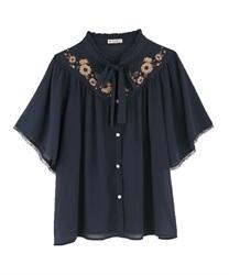 ひまわり刺繍楊柳ブラウス(紺-M)