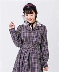 【OUTLET】【Web価格】チェックフェミニンシャツ