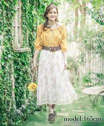 水彩花柄プリーツロングスカート