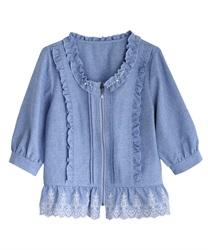 【2点5000円対象 /WEB限定】裾刺繍七分袖ブルゾン(ブルー-M)