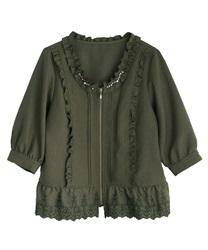 【2点5000円対象 /WEB限定】裾刺繍七分袖ブルゾン(カーキ-M)