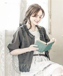 裾刺繍七分袖ブルゾン