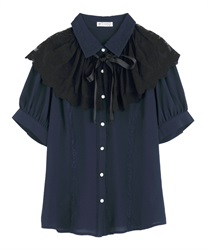【OUTLET】レースケープリボン付半袖ブラウス(紺-M)
