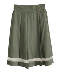 デザインホックプリーツスカート(カーキ-M)