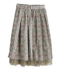 【web価格/15H限定】バラ×ストライプ柄スカート(グリーン-M)