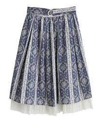 【web価格/15H限定】バラ×ストライプ柄スカート(紺-M)
