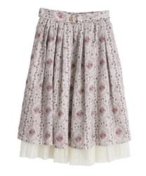【web価格/15H限定】バラ×ストライプ柄スカート(ピンク-M)