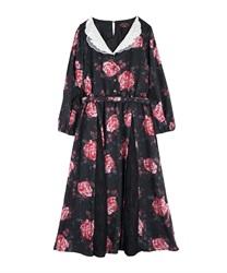 【OUTLET】刺繍襟花柄ワンピース【Web価格】