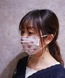 【OUTLET】ローズ×チェック柄マスク(生成り-M)