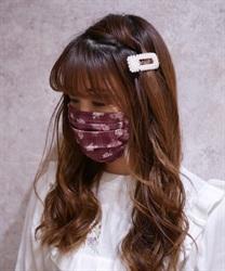 【OUTLET】ローズ×チェック柄マスク(赤-M)