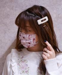 【OUTLET】ローズ×チェック柄マスク(淡ピンク-M)