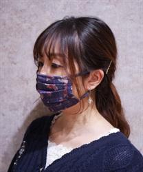 【OUTLET】ローズ×チェック柄マスク(紺-M)