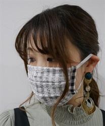 【均一価格/WEB限定】ギンガム×花柄レースマスク
