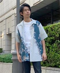 【10%OFF対象】和柄mixハワイアンシャツ