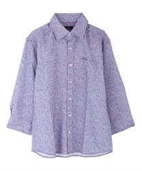 ペイズリー柄メンズシャツ(サックス-M)
