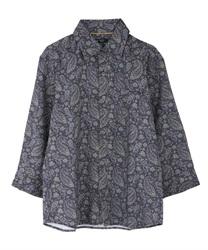 ペイズリー柄メンズシャツ(紺-M)