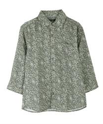 小花柄メンズシャツ(カーキ-M)