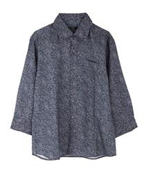 小花柄メンズシャツ(紺-M)