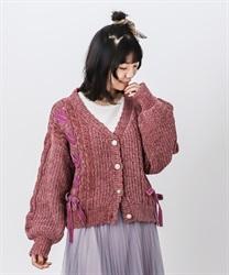 【OUTLET】ベロアモールニットカーディガン(濃ピンク-M)