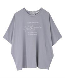 ドルマン袖カラーTシャツ(ブルー-M)