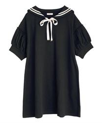 セーラーカット半袖ワンピース(黒-M)
