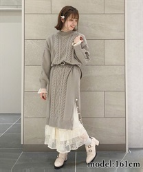 【OUTLET】【Web価格】裾ボタンニットワンピース